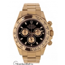 Rolex Replica Cosmograph Daytona Rose Gold Black Index Dial 40MM Watch 116505
