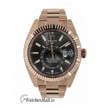 Rolex Sky-Dweller Rose Gold Rhodium Dial Fluted Bezel 42MM Watch 326935
