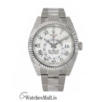 Rolex Replica Sky-Dweller White Gold White Roman Dial 42MM Watch 326939