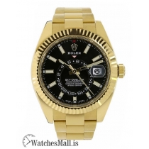 Rolex Replica Sky-DwellerYellow Gold Black Index Dial 42MM Watch 326938