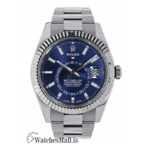 Rolex Replica Sky-Dweller Stainless-Steel Blue Dual Time Zone 42MM Watch 326934
