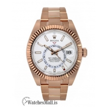 Rolex Replica Sky-DwellerRose Gold White Dial Dual Time Zone 42MM Watch 326935