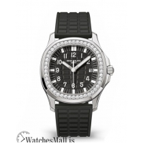Patek Philippe Replica Aquanaut Black Steel Diamond Bezel 35MM Watch 5067A001