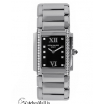 Patek Philippe Replica Twenty 4 Steel Black Diamond Dial 30MM Watch 491010A001