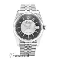 Rolex Datejust Replica Black & Silver Baton Dial  116234-36 MM