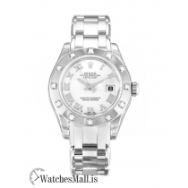 Rolex Pearlmaster Replica Ladies Automatic White Gold set with Diamonds 80319 29MM