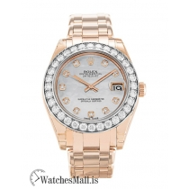 Rolex Pearlmaster Replica Ladies Rose Gold set with Diamonds 81285 34MM