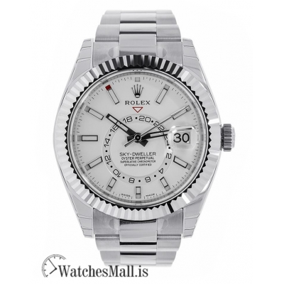 Rolex Replica Sky-Dweller Steel White Index Dial Fluted Bezel 40MM Watch 326934
