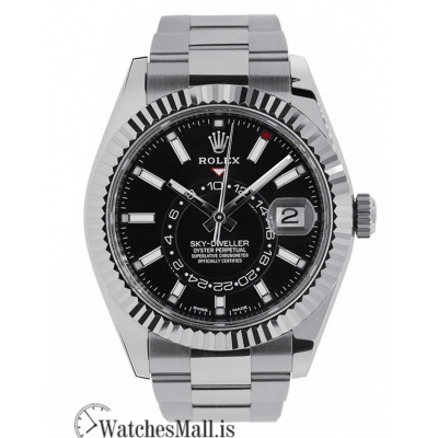 Rolex Replica Sky-Dweller Stainless Steel Fluted Bezel Black Dial 42MM Watch 326934