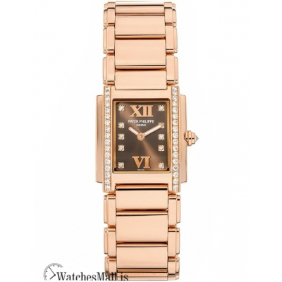 Patek Philippe Replica Twenty 4 Small Rose Gold Chocolate Dial 26MM Watch 490811R010