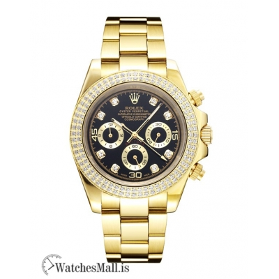 Rolex Daytona Replica Automatic 18K Full Gold Plated With Diamond Bezel 14527 40MM